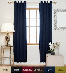 White Bedroom Blackout Curtains Amazon Com Navy Antique Brass Grommet Top Thermal Insulated