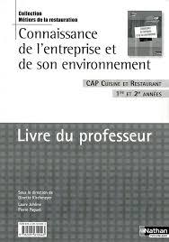 livre technique cuisine connaissance de l entreprise et de environnement livre du