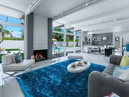 Bright Blue Rug Astonishing Open Living Room Design Living Room Patterned Sofa