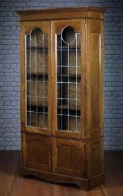 Antique Oak Bookcase With Glass Doors Leaded Glass Bookcase Antique Oak Bookcase With Leaded Glass Doors
