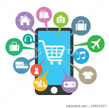 Awning Online Smartphone With Awning And Basket Online Shop Stock Illustration
