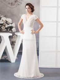 patterned lace v neck short sleeve sheath wedding dress