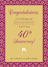 40th wedding anniversary gifts for parents anniversary wording ideas archives anniversary ideas