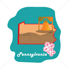 Pennsylvania State Map Pennsylvania State Map With The Liberty Bell Vector Image