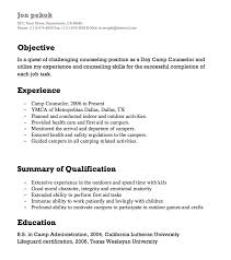 Resume Counseling Camp Counselor Resumes Http Resumesdesign Com Camp Counselor