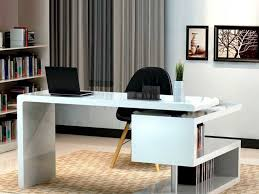 Stylish Home Office Desks Office Combine Black Chair And Modern White Office Desk For