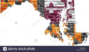 maryland map vector maryland map on a brick wall illustration the state of maryland