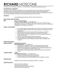 Sample Resume  Writing Dental Resume Center Assistant Exles