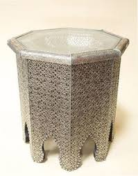 Moroccan Side Table White Metal Hexagonal Moroccan Side Table Moorish Decor Side