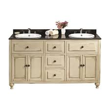 60 Bathroom Vanity Double Sink Shop Ove Decors Kensington Antique White Drop In Double Sink