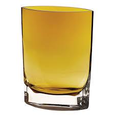 Yellow Glass Vase Handmade Glass Samantha Amber European Mouth Blown 8