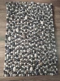 pebble rugstone felt ball rectangular rugnatural felt ball