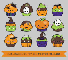 premium vector clipart kawaii halloween cup cakes cute
