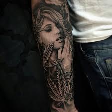 grey ink marijuana on sleeve by