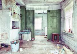 Small Country House Old Small Abandoned And Ruinous Country House Interior In Russia