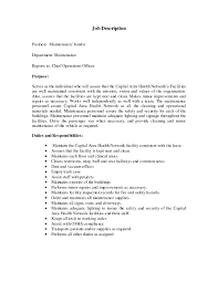 resume job description for janitor professional resumes example