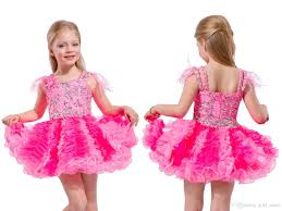toddler pageant dresses with feathers on the shoulders