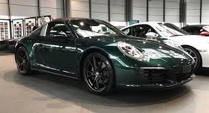 porsche british racing green jet green porsche 991 2 targa 4 stuns with brown roof combo car news