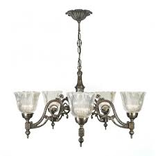 Traditional Ceiling Light Fixtures Or Edwardian Aged Brass Chandelier With Halophane Shades