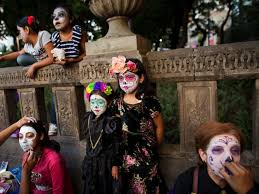 catrina costume day of the dead parade in mexico features painted la catrina faces