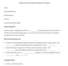Resume Example Entry Level by Banking Resume Template U2013 21 Free Samples Examples Format