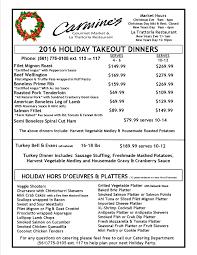thanksgiving lunch menu carmine u0027s fresh gourmet italian market u0026 gift baskets palm beach