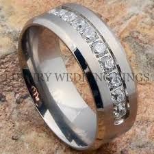 mens wedding band with diamonds titanium ring men s wedding band diamonds simulated infinity