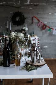 holiday cocktail making party rustic table