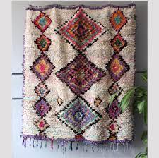 vintage moroccan boucherouite rug diamond square 160x145cm