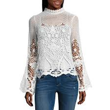 sleeve lace blouse project runway bell sleeve lace top unlined jcpenney