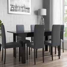 Black Gloss Dining Room Furniture Vivienne Extendable Black High Gloss Dining Table 6 Slate Chairs