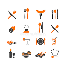 logo de cuisine restaurant menu kitchenware icons button logo stock vector