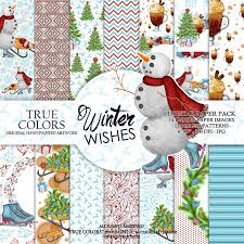 winter wishes digital paper pack watercolor hand painted red blue
