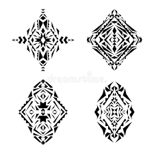 vector set of tribal black and white decorative patterns for