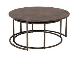 wood nesting coffee table round coffee table with nesting stools modern chrome 2 piece