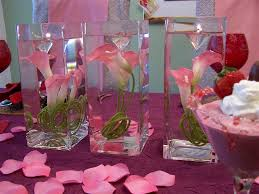 s day table centerpieces decorations pink in watered glass centerpiece with purple