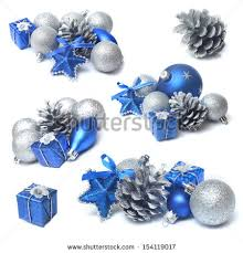 decorations blue silver bauble stock photo 154119017