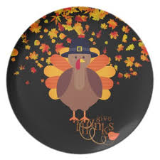 thanksgiving turkey plastic plate thanksgiving day family