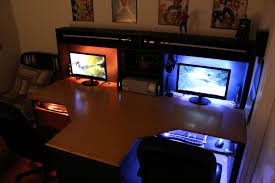 Console Gaming Desk Furniture Gaming Desk Ideas For 2 Computers Cool