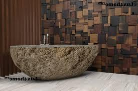 stone tile bathroom floor double clear glass shower bath furnished