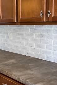 faux brick backsplash in kitchen remodelaholic diy whitewashed faux brick backsplash