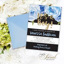 floral baby shower invitation floral blue faux gold foil black