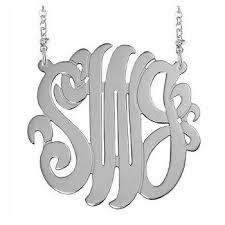 Monogram Initials Necklace Sterling Silver Monogram 3 Initial Necklace Personalized Boutique
