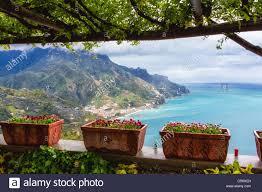 scenic view from under a trellis ravello amalfi coast campania