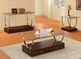 modern glass and wood coffee table design in modern livingroon
