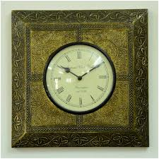 roman numeral round wall clock square brass frame home decor