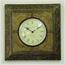 Home Decor Wall Clocks Roman Numeral Round Wall Clock Square Brass Frame Home Decor