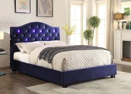 platform bed with led lights cressida contemporary style navy blue flannelette camelback button