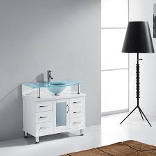 Bathroom Vanities 36 Inch White Aqua 36 Inch Bathroom Vanity White Finish Tempered Glass Vanity Top