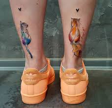 cute cats back of girls legs best tattoo design ideas